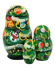 Christmas Tree 3-Piece Russian Matryoshka Nested Dolls Set