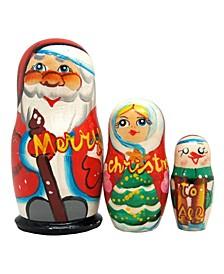 Marry Christmas Santa Family 3-Piece Russian Matryoshka Nested Dolls Set