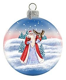 Santa with Owl Glass Ornament