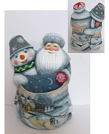 Woodcarved and Hand Painted Santa and Snowman Companions Bag Masterpiece Signature Figurine