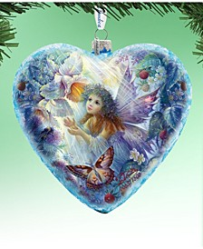 Holiday Limited Edition Flower Fairy Glass Heart Ornament