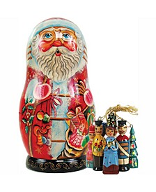 Russian Matryoshka Wooden Toy Santa Ornament Doll Set