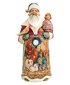 Woodcarved and Hand Painted Nativity Santa Claus Figurine