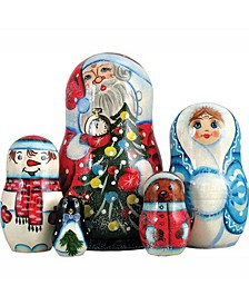 5-Piece Santa Family Russian Matryoshka Nested Doll Set