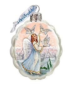 White Doves Angel Glass Ornament