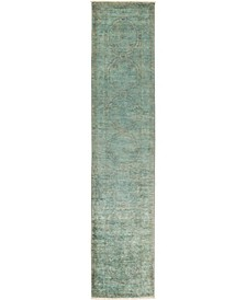 """CLOSEOUT! One of a Kind OOAK2799 Teal 2'5"""" x 9'10"""" Runner Rug"""