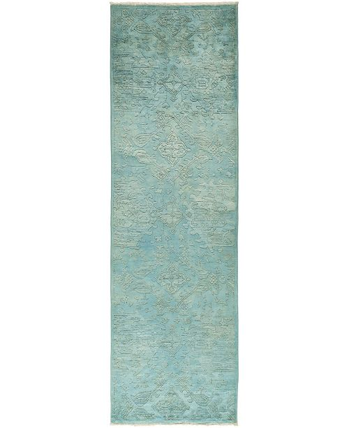 """Timeless Rug Designs CLOSEOUT! One of a Kind OOAK831 Teal 3' x 10'2"""" Runner Rug"""