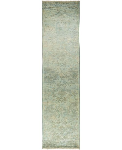 """Timeless Rug Designs CLOSEOUT! One of a Kind OOAK841 Green 3'1"""" x 12'4"""" Runner Rug"""