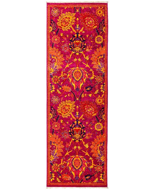 """Timeless Rug Designs CLOSEOUT! One of a Kind OOAK2846 Pink 2'8"""" x 7'10"""" Runner Rug"""