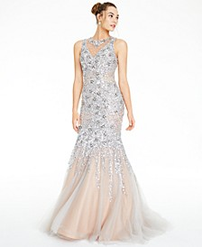 Juniors' Embellished Cutout-Back Gown