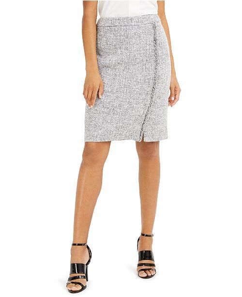 Calvin Klein Fringe-Trim Pencil Skirt