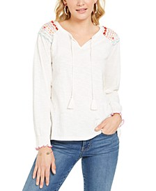 Embroidered-Shoulder Top, Created for Macy's