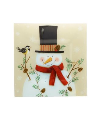 Holiday Snowy Silhouettes Square Glass Platter