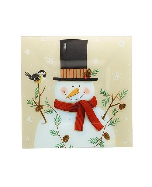 Pfaltzgraff Holiday Snowy Silhouettes Square Glass Platter