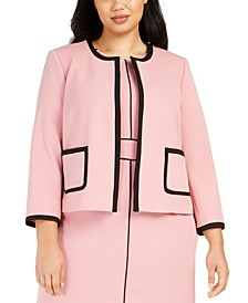 Plus Size Crepe Jewel-Neck Jacket