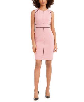 Contrast-Piped Jewel-Neck Sheath Dress