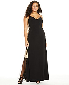 Trendy Plus Size Rhinestone Appliqué Gown