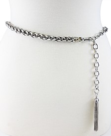 Tubular Twist Chain Belt with Tassel Ornament