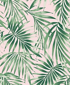 Elegant Leaves Pink Wallpaper