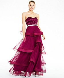 Juniors' Rhinestone-Waist Tiered Gown, Created for Macy's