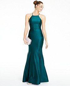 Juniors' Strappy-Back Halter Gown