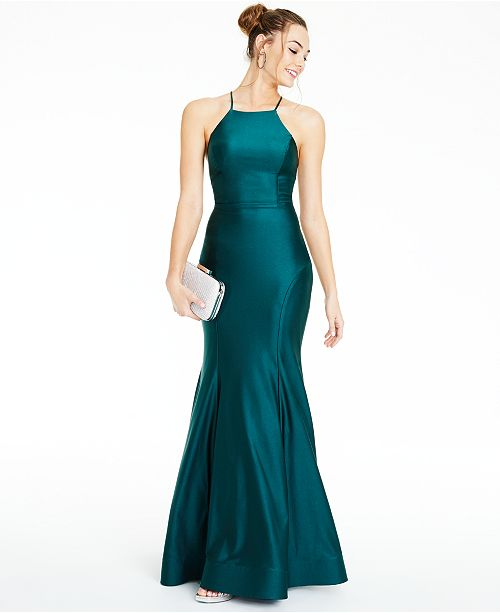 City Studios Juniors' Strappy-Back Halter Gown