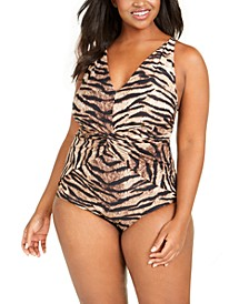 Plus Size Tiger Printed Twist-Front Tummy Control One-Piece Swimsuit