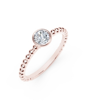 Forevermark Tribute Collection Round Diamond (1/10 ct. t.w.) Ring with Beaded Detail in 18k Yellow