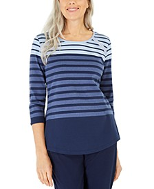 Petite Colorblocked Striped Top, Created for Macy's