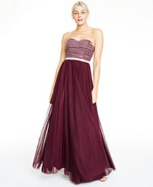 Juniors' Beaded Mesh Gown