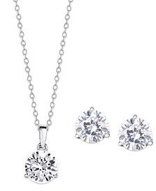 Cubic Zirconia Round Pendant Necklace and Earring set in Fine Silver Plate