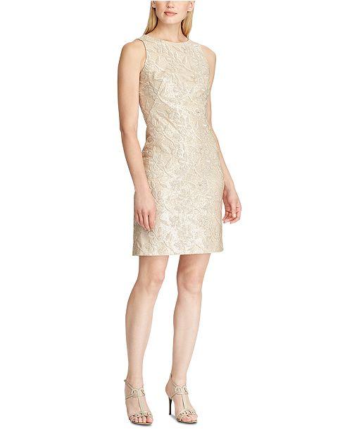Lauren Ralph Lauren Sequined Embroidered Floral Dress