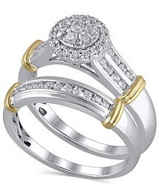 Certified Diamond (1/2 ct. t.w.) Bridal Set in 14K White and Yellow Gold