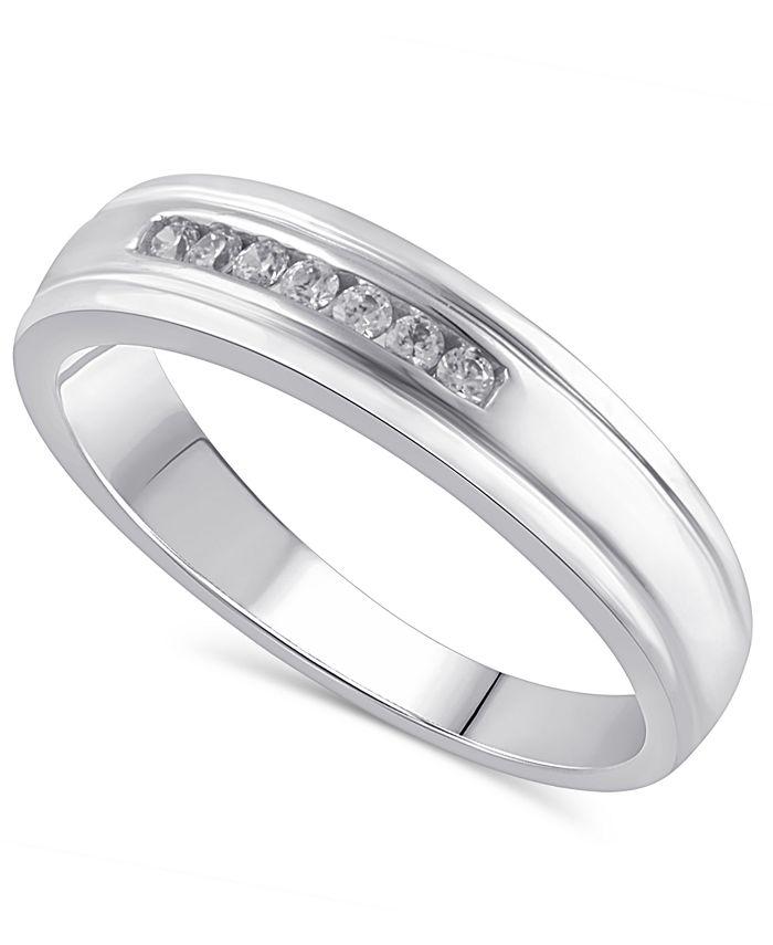 Macy's - Men's Certified Diamond (1/8 ct. t.w.) Ring in 14K White Gold