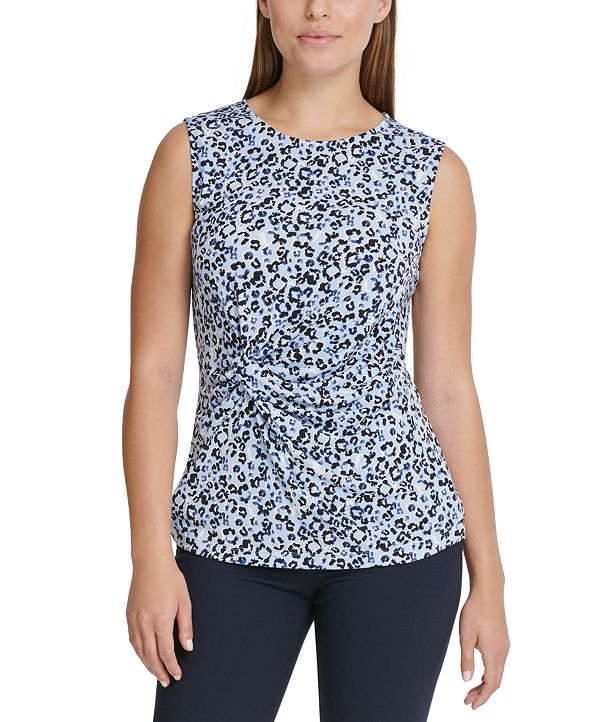 DKNY Floral-Print Side-Knot Top