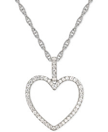 "Diamond Heart 18"" Pendant Necklace (1/4 ct. t.w.) in 14k Gold"