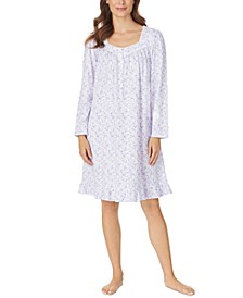 Cotton Jersey-Knit Floral-Print Venise Lace Nightgown