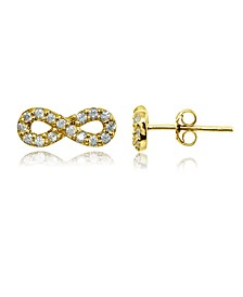 Cubic Zirconia Infinity Symbol Stud Earring in Sterling Silver, 18k Rose or Yellow Gold over Sterling Silver