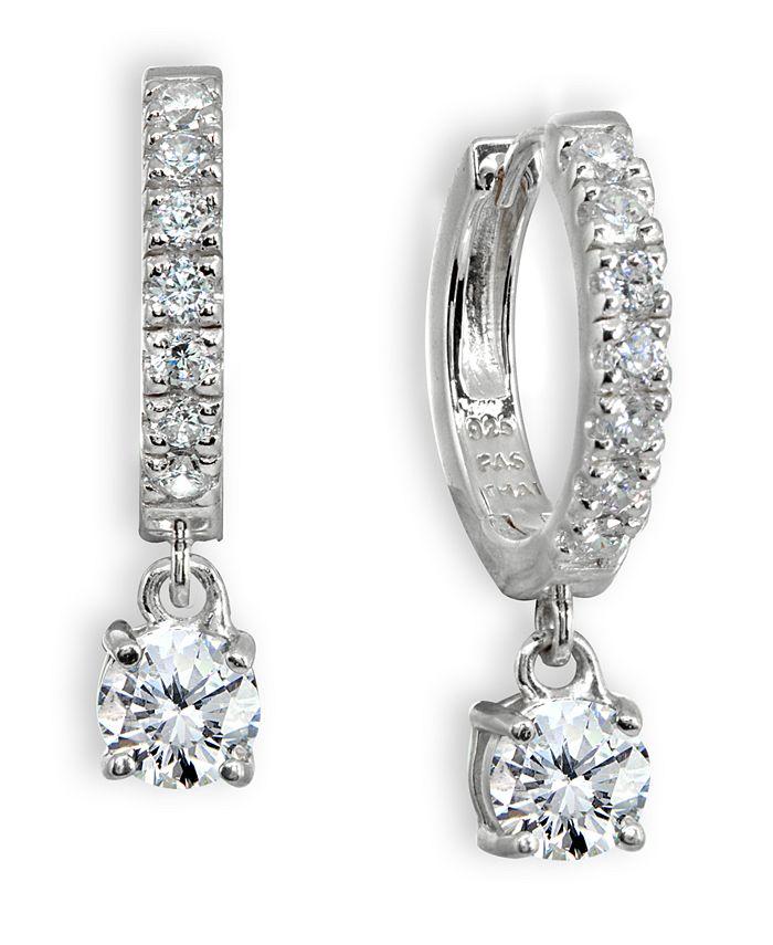 Giani Bernini - Cubic Zirconia Dangle Drop Huggie Hoop Earring in Sterling Silver or 18k Gold over Silver