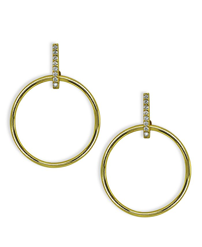 Giani Bernini - Cubic Zirconia Accent Front Circle Earrings in 18k Gold Plated Sterling Silver or Sterling Silver