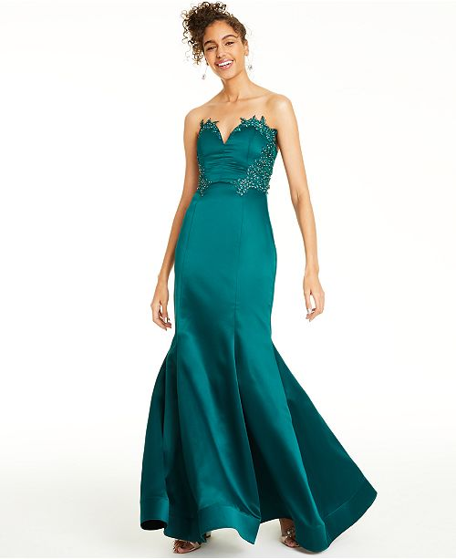 City Studios Beaded Appliqué-Trim Gown, Created For Macy's