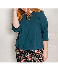 Women's's Plus Size 3/4 Sleeve Super Soft Crop Tee