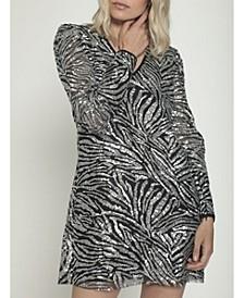 V-Neck Sheath Mini Dress with Puff Sleeves