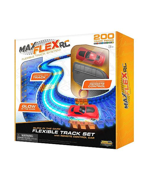 Max Traxxx Max Flex 200 RC Light Trace Technology Glow In The Dark Flexible Track System with 1 64 Scale Remote Control Car