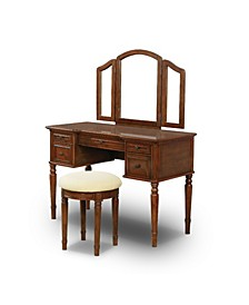 Edenbrook 2-Piece Wood Vanity Table And Stool Set