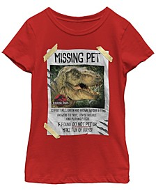 Jurassic Park Big Girl's Missing Pet T-Rex Poster Taped Short Sleeve T-Shirt