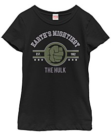 Marvel Big Girl's Earth's Mightiest Heroes The Hulk Short Sleeve T-Shirt