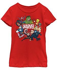 Marvel Big Girl's Avengers Cartoon Action Collage Group Shot Short Sleeve T-Shirt