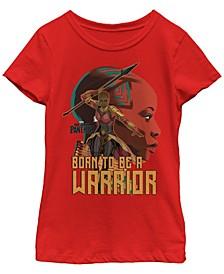 Marvel Big Girl's Black Panther Movie Okoye Profile Short Sleeve T-Shirt
