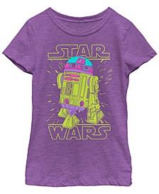 Star Wars Big Girl's Neon Lines R2-D2 Short Sleeve T-Shirt